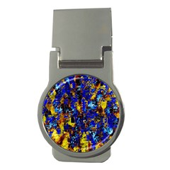 Network Blue Color Abstraction Money Clips (Round)