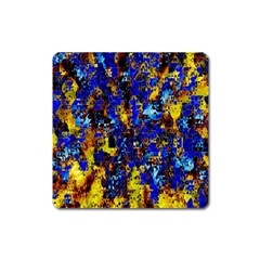 Network Blue Color Abstraction Square Magnet