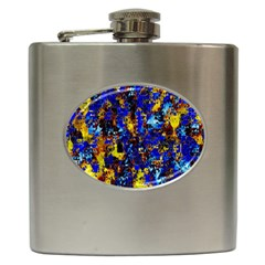 Network Blue Color Abstraction Hip Flask (6 oz)