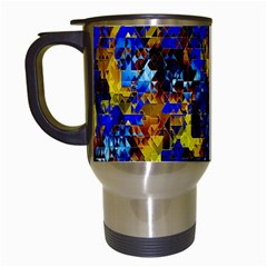 Network Blue Color Abstraction Travel Mugs (White)