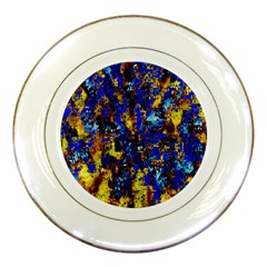 Network Blue Color Abstraction Porcelain Plates