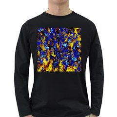 Network Blue Color Abstraction Long Sleeve Dark T-Shirts