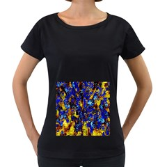 Network Blue Color Abstraction Women s Loose-Fit T-Shirt (Black)