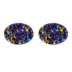 Network Blue Color Abstraction Cufflinks (Oval)