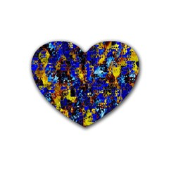 Network Blue Color Abstraction Rubber Coaster (Heart)