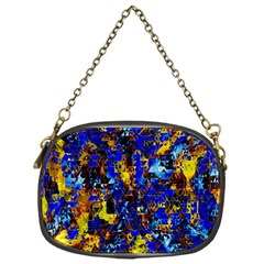 Network Blue Color Abstraction Chain Purses (One Side)