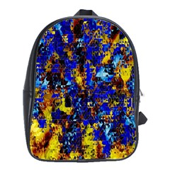Network Blue Color Abstraction School Bags(Large)