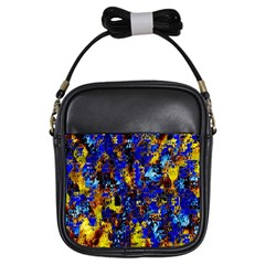 Network Blue Color Abstraction Girls Sling Bags