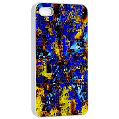 Network Blue Color Abstraction Apple iPhone 4/4s Seamless Case (White)
