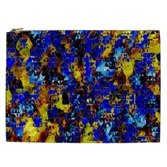 Network Blue Color Abstraction Cosmetic Bag (XXL)