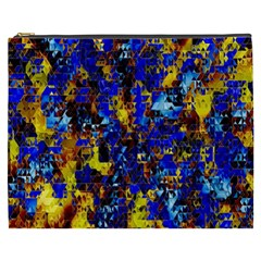 Network Blue Color Abstraction Cosmetic Bag (XXXL)