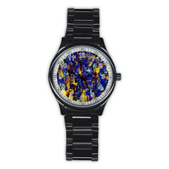 Network Blue Color Abstraction Stainless Steel Round Watch