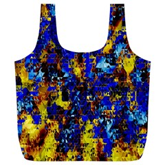 Network Blue Color Abstraction Full Print Recycle Bags (L)