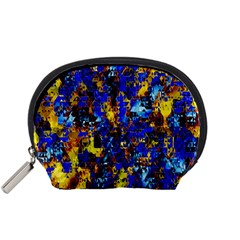Network Blue Color Abstraction Accessory Pouches (Small)
