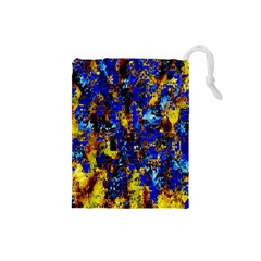 Network Blue Color Abstraction Drawstring Pouches (Small)
