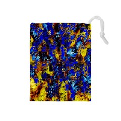 Network Blue Color Abstraction Drawstring Pouches (Medium)