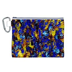 Network Blue Color Abstraction Canvas Cosmetic Bag (L)