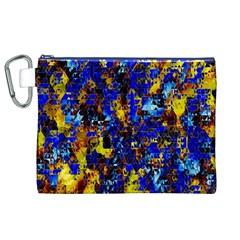 Network Blue Color Abstraction Canvas Cosmetic Bag (XL)