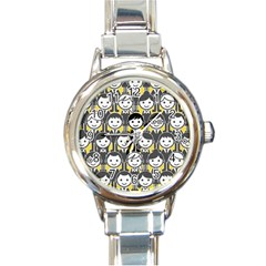 Man Girl Face Standing Round Italian Charm Watch