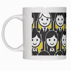 Man Girl Face Standing White Mugs