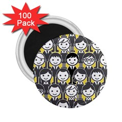 Man Girl Face Standing 2.25  Magnets (100 pack)