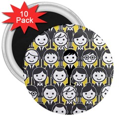 Man Girl Face Standing 3  Magnets (10 pack)