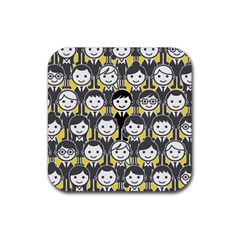 Man Girl Face Standing Rubber Coaster (Square)