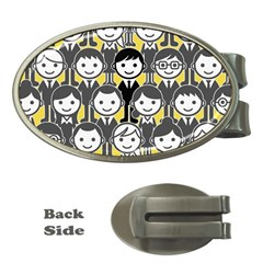 Man Girl Face Standing Money Clips (Oval)