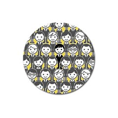 Man Girl Face Standing Magnet 3  (Round)