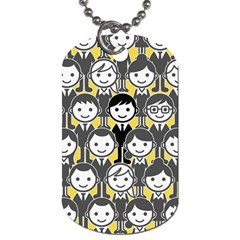 Man Girl Face Standing Dog Tag (One Side)