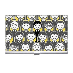 Man Girl Face Standing Business Card Holders