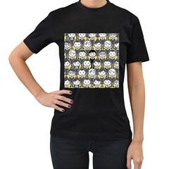 Man Girl Face Standing Women s T-Shirt (Black) (Two Sided)