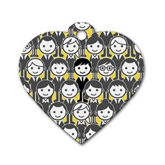 Man Girl Face Standing Dog Tag Heart (One Side)