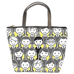 Man Girl Face Standing Bucket Bags