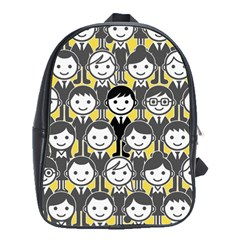 Man Girl Face Standing School Bags(Large)