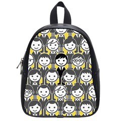 Man Girl Face Standing School Bags (Small)