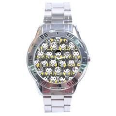 Man Girl Face Standing Stainless Steel Analogue Watch