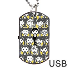 Man Girl Face Standing Dog Tag USB Flash (One Side)