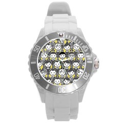 Man Girl Face Standing Round Plastic Sport Watch (L)
