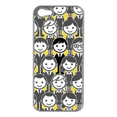 Man Girl Face Standing Apple iPhone 5 Case (Silver)