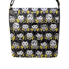 Man Girl Face Standing Flap Messenger Bag (L)