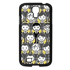Man Girl Face Standing Samsung Galaxy S4 I9500/ I9505 Case (Black)