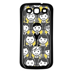 Man Girl Face Standing Samsung Galaxy S3 Back Case (Black)