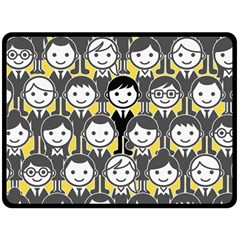 Man Girl Face Standing Double Sided Fleece Blanket (Large)