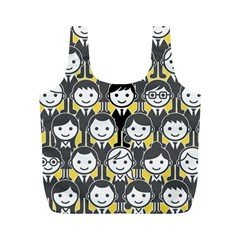 Man Girl Face Standing Full Print Recycle Bags (M)