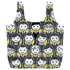 Man Girl Face Standing Full Print Recycle Bags (L)