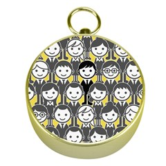 Man Girl Face Standing Gold Compasses