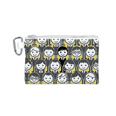 Man Girl Face Standing Canvas Cosmetic Bag (S)