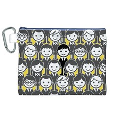 Man Girl Face Standing Canvas Cosmetic Bag (XL)
