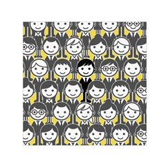 Man Girl Face Standing Small Satin Scarf (Square)